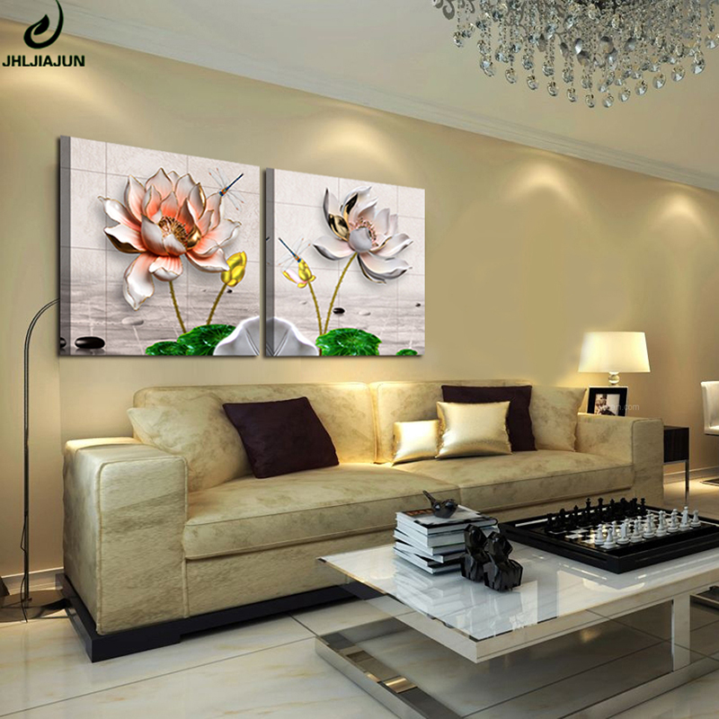 Jhljiajun lotus painting canvas modern simple 3d frame oil - Simple canvas painting for living room ...
