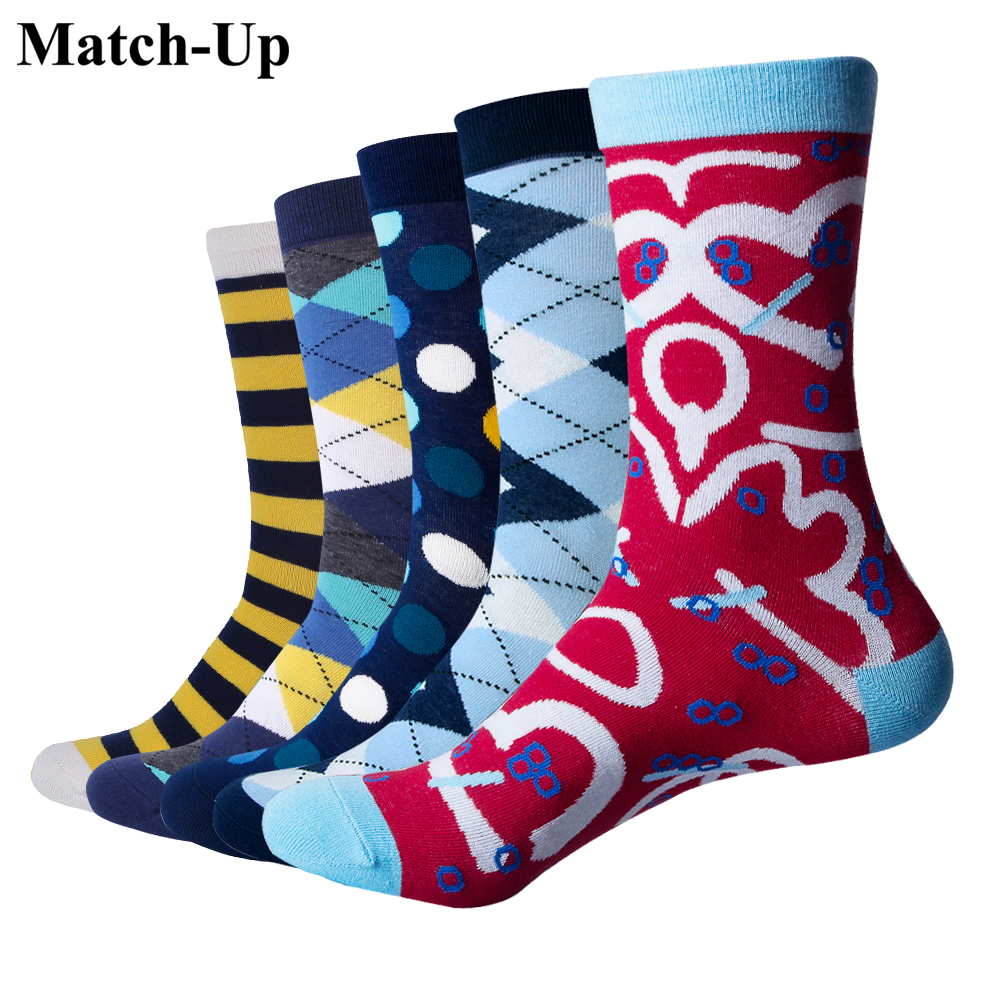 Match-Up Mens Funny Colorful Combed Cotton Socks Casual Socks Dress Socks (5pairs/lot)