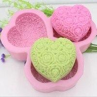 Kalp Şekilli Gül Çiçek Sabun Kalıbı, Reçine Kil Çikolata Şeker Silikon Kek Kalıbı, Fondan Kek Dekorasyon Araçları