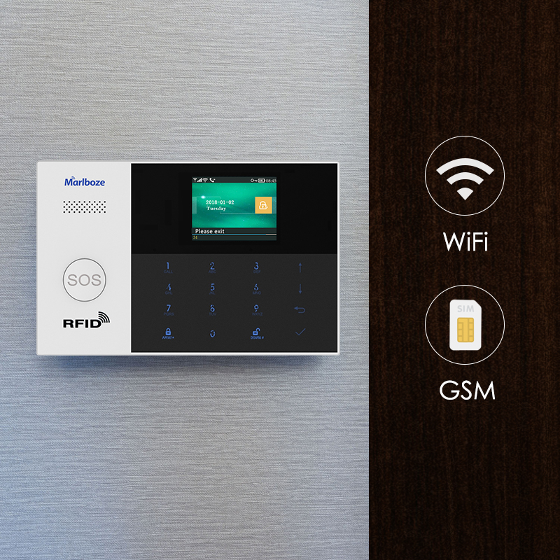 Marlboze WIFI GSM GPRS Alarm system APP Remote Control RFID card Arm Disarm with color screen SOS button Languages switchable