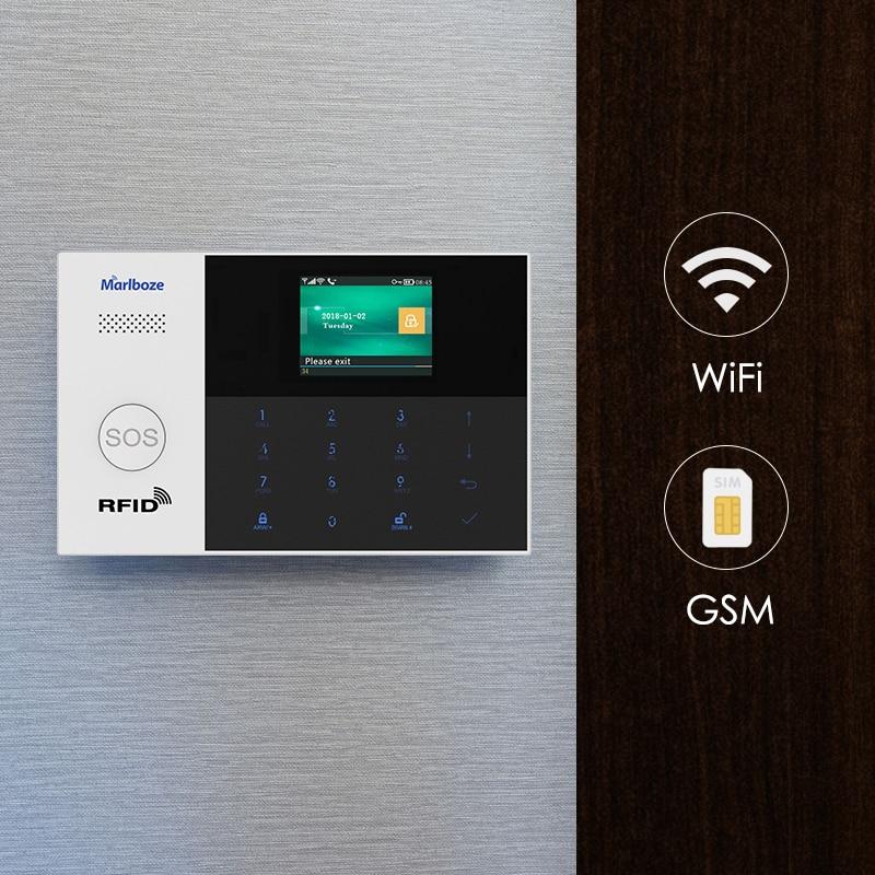 Marlboze WIFI GSM GPRS système d'alarme APP télécommande RFID carte bras désarmer avec écran couleur SOS bouton langues commutables