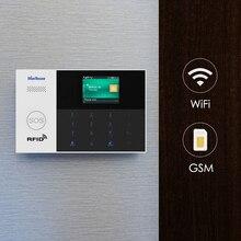 Marlboze sistema de alarme wifi gsm gprs, aplicativo controle remoto, cartão rfid armar desarmar com tela colorida, botão sos, línguas, ajustável