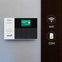 Marlboze wifi gsm gprs sistema de alarme app controle remoto rfid cartão braço desarmar com tela colorida sos botão línguas comutáveis