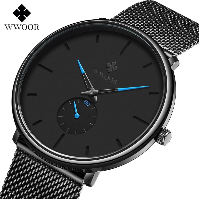 WWOOR décontracté japon montre à Quartz de luxe marque montres hommes en acier inoxydable maille bracelet mince cadran horloge homme relogio masculino