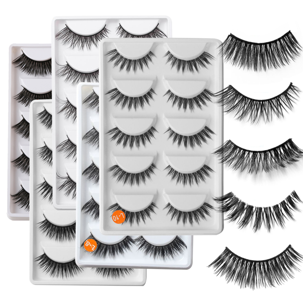 5Pairs 3D False eyelashes Luxurious Cross False Eye Lashes Natural Long Beauty Women Makeup Decorative Cosmetic