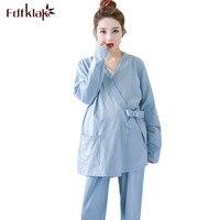 Fdfklak 3 PCS Home Clothes for Women Long Sleeve Cotton Maternity Pajamas Casual Pregnancy Clothes Breast Feeding Pijama Set