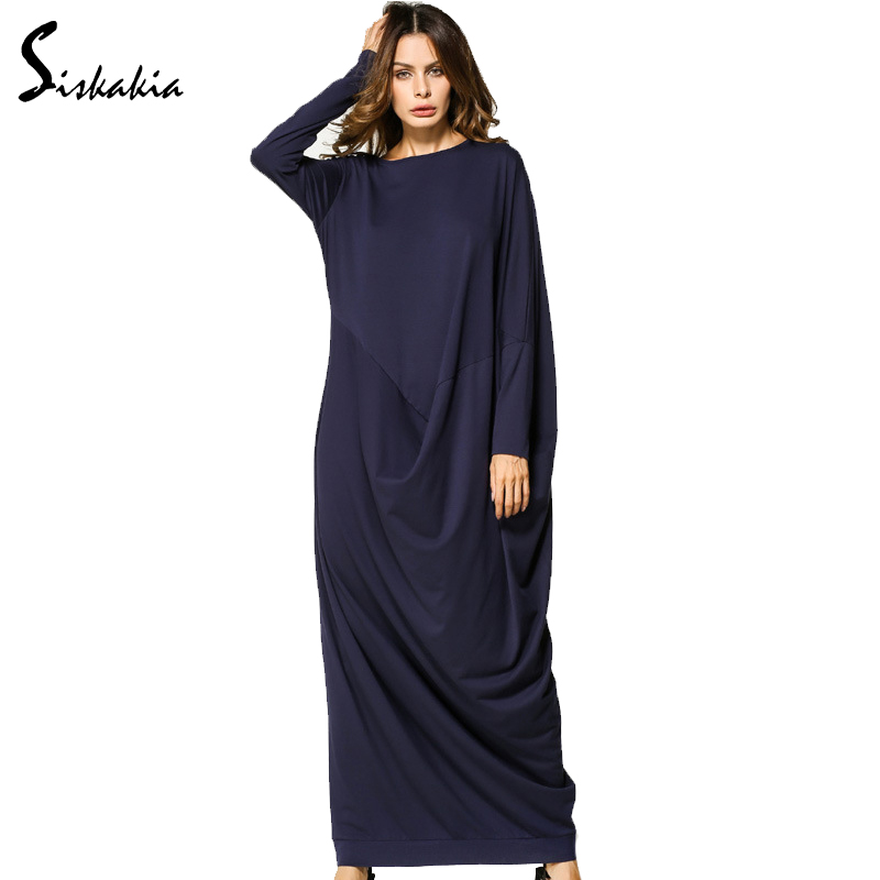 Siskakia طويلة الأكمام فستان ماكسي طويل جديد خريف 2017 فضفاضة زائد حجم رايات المرقعة تصميم دبي الإمارات امرأة أثواب السيدات الستر