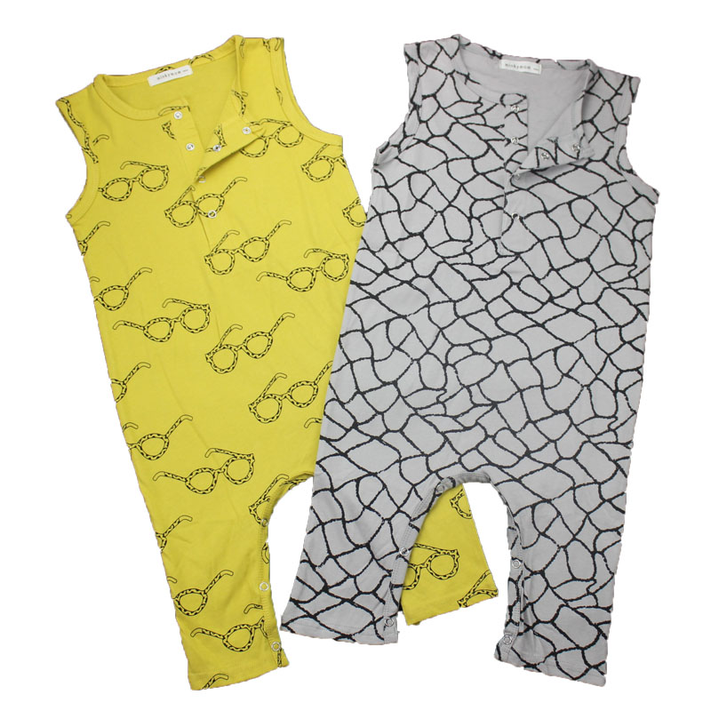 2019 New toddler Fashion Glasses/Plaid Pattern Baby Boys Rompers Sleeveless Newborn Baby Girl Clothes Infant Jumpsuit