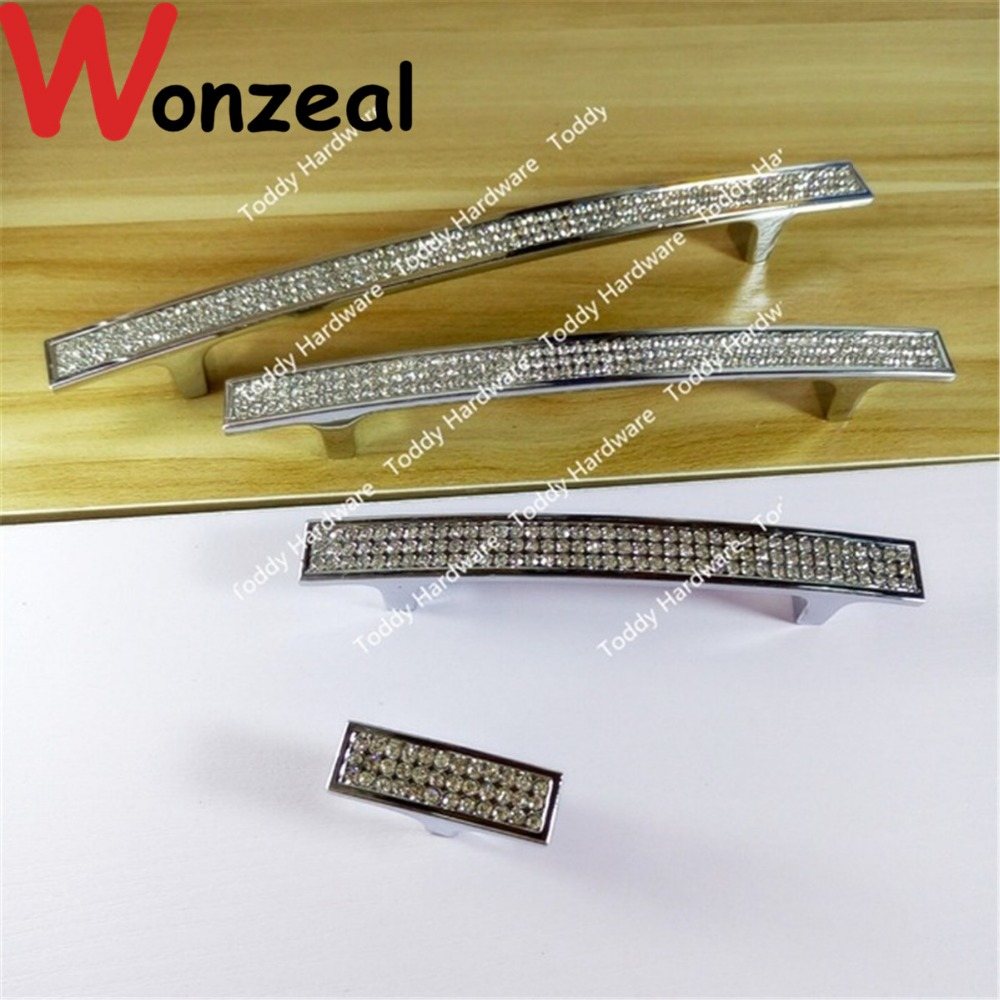 Hole Pitch 96/128/160mm/ Single Knob Crystal Cabinet Dresser Drawer Pulls Rhinestone Glass Kitchen Furniture Handle Silver Knob furniture drawer handles wardrobe door handle and knobs cabinet kitchen hardware pull gold silver long hole spacing c c 96 224mm