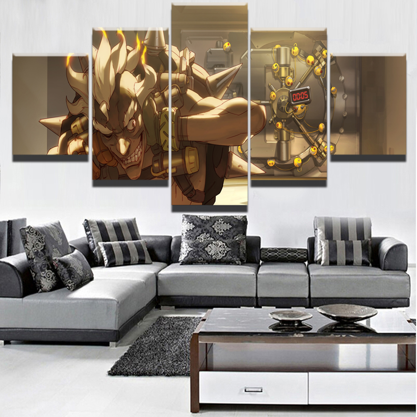Canvas Painting Wall Art Framework Game Characters Decor 5 Pieces Junkrat   Overwatch Pictures Landscape Living Room HD Printed