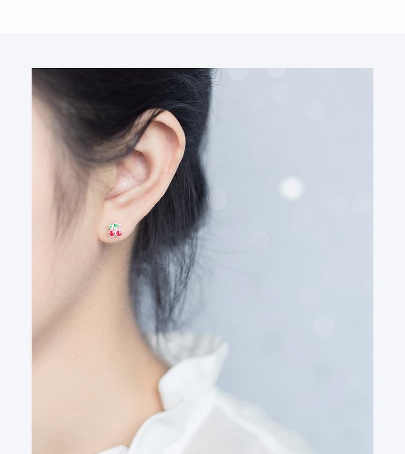 Shunyun Trendy Plant Sweet Fruit Fresh Cherry Earrings for Women Beautiful Girl Bijoux Nice Christmas Gift Bridal Jewelry