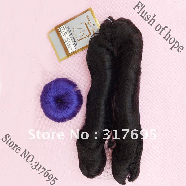 Free Shipping Magic Touch 27PCS Synthetic Hair Weaving Hair Extensions Color 1B/Purple   27pcs in one pack