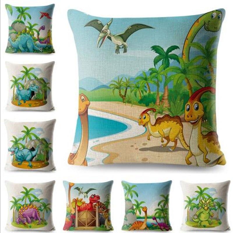 Colorful Dinosaur Linen Pillow Case Animal Cushion Cover