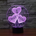 3 hearts USB touch Night Lights 3d desk Lamps 7 color changing LED Table Lamps home decor customized lover's Gift wedding