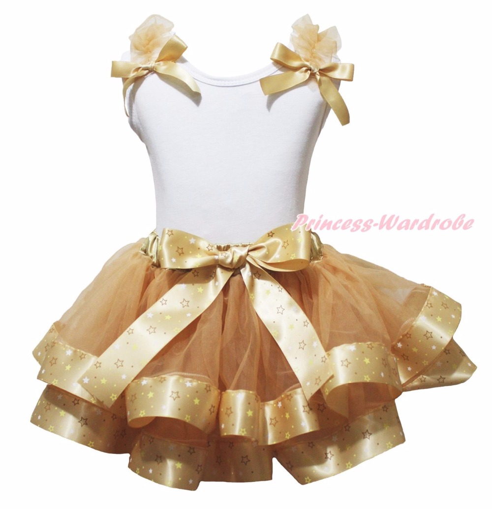 ФОТО 4th July Born in the USA Gold Minnie I'm So Sparkly Polka Dots Heart White Top Gold Stars Ribbon Trim Skirt Girls NB-8Y
