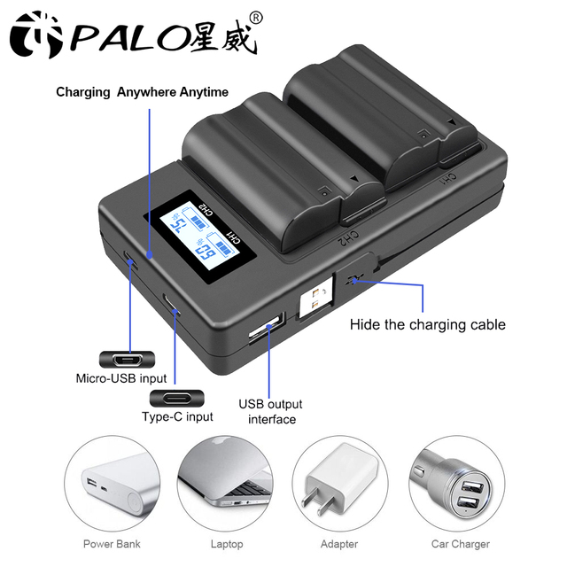 PALO EN-EL15 ENEL15 EL15 cargador de batería LCD USB cargador Dual para Nikon D500, D600, D610, D750, d7000... D7100... D7200... D800... D800E... D810