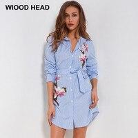 Wiood голова 2018 Новый Для женщин весеннее платье в полоску Вышивка ремень Повседневная одежда ретро платье европейской и американской Стиль