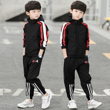 acdbf82d92208 Yeni Erkek Kapüşonlu Eşofman Giysi set Çocuk İlkbahar & Sonbahar Pamuk okul  üniforması Spor Takım Elbise Erkek giyim setleri 4 6 8 10 12 14 yıl