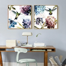 Nordic Flowers Poster Purple Hydrangea Hummingbird Canvas Painting Modern Home Decoration Bedroom Wall Art Pictures No Frame