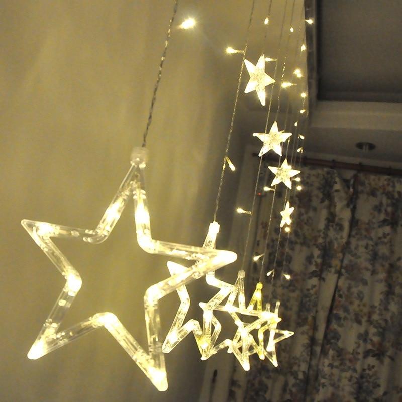 Christmas Lights AC 220V EU Plug Romantic Fairy Star LED Curtain String Lighting For Holiday Wedding Garland Party Decoration