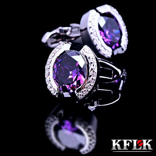 2018 KFLK Luxury Designer shirt cufflinks for mens Brand cuff buttons Purple Crystal cuff links High Quality abotoaduras Jewelry kflk jewelry fashion shirt cufflinks for mens gift brand cuff links buttons blue high quality abotoaduras gemelos free shipping