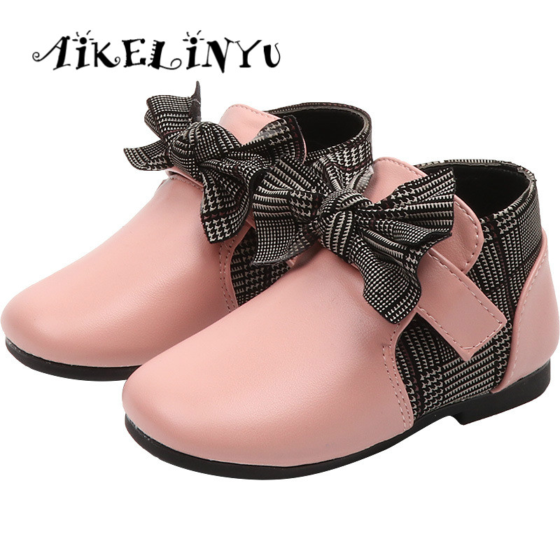 2018 Autumn Girls Leather Shoes Kids Boots Baby Girl ...