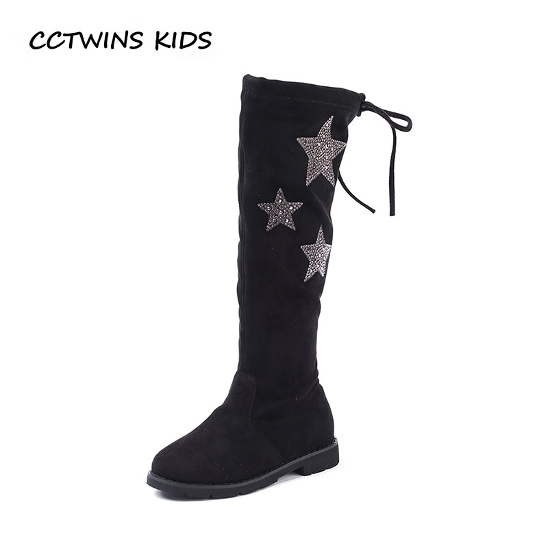 CCTWINS KIDS 2018 Winter Children Black Over The Knee Boot Girl Genuine Leather Boot Baby Fashion Rhinestone Princess Shoe H036 cctwins kids 2017 children brand high boot kid fashion over the knee boot baby girl toddler genuine leather black shoe c1312