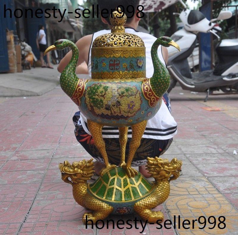 Navidad China bronce Cloisonne esmalte grúa pájaro dragón tortuga quemador de incienso Censer halloween