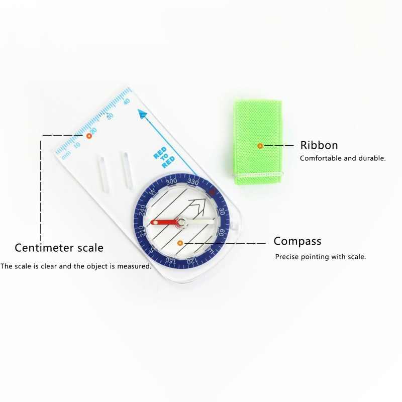 Açık Taşınabilir Başparmak Pusula Kamp Yönlü kros Yarışı Yürüyüş Pusula Taban Plakası Cetvel Harita Ölçeği Compass2