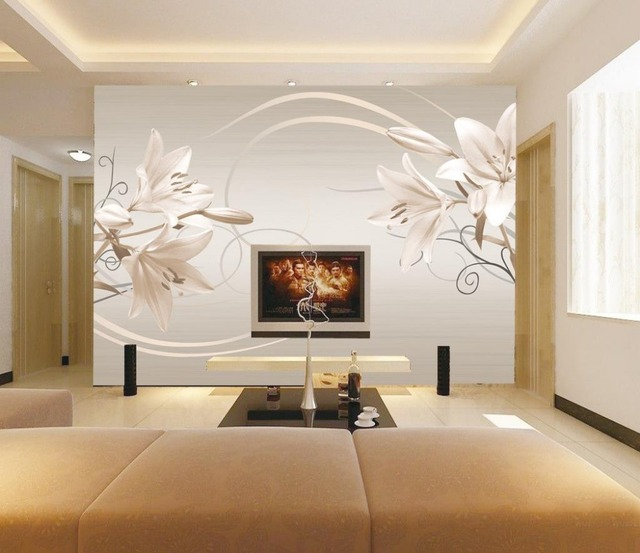 3d papier peint pour chambre Moderne simple rétro couleur lily ...