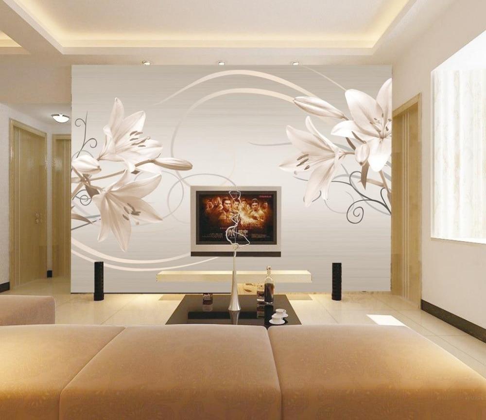€ 13.8 53% de réduction|3d papier peint pour chambre moderne simple rétro  couleur lily fond mur fleur papier peint salle de bains 3d papier peint-in  ...