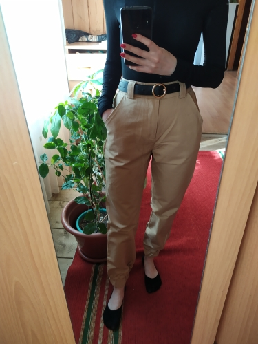 High Waist Green Black Khaki Ankle Length Pants