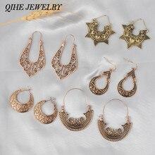QIHE JEWELRY Ancient Bohemian Filigree Earrings Boho Vintage Ethnic Hollow Chandelier Earrings for women faux crystal filigree chandelier earrings