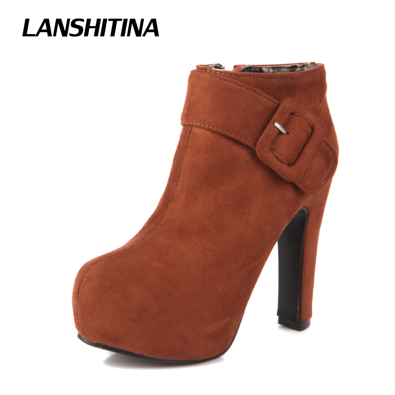 women high heel short ankle boots 2017 autumn winter boots buckle high heels flock shoes round toe footwear G080 Size 32-43 2016 new arrival 15cm ladies motorcycle autumn and winter boots round toe 6 inch high heel boots sexy flock buckle boots
