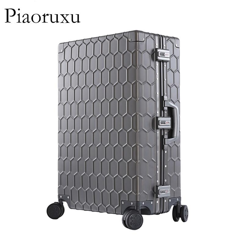 """Piaoruxu20 """"26"""" 29 """"100% 알루미늄 마그네슘 합금 롤링 수하물 비즈니스 트롤리 가방 풀 메탈 여행용 케이스 여성용 로즈-에서하드사이드 수하물부터 수화물 & 가방 의  그룹 1"""