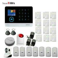 SmartYIBA WIFI GSM SMS House intelligent DIY Burglar Security Alarm System Network Camera Surveillance Red Flash Siren Alarma