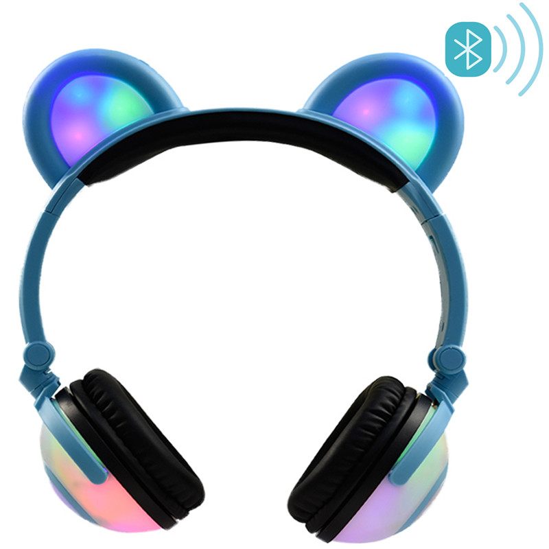 LIMSON Bluetooth Kids Headphones Folding Wireless Headset Cat Ear Earphone LED Light Flashing 3.5mm Cable For Smartphone BL109