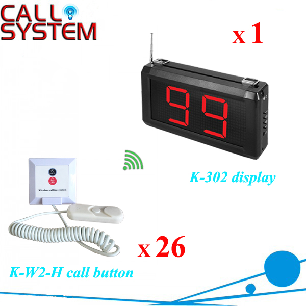 Patient Bed Calling Alarm System Nurse Call 1pc K-302 display 26pcs K-W2-H buzzer 2 receivers 60 buzzers wireless restaurant buzzer caller table call calling button waiter pager system