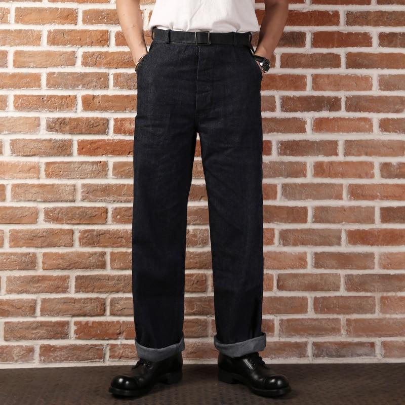 9oz casual straight high waist pants mans USN DUNGAREES vintage raw denim jean norse projects regular denim 13 5 oz raw indigo