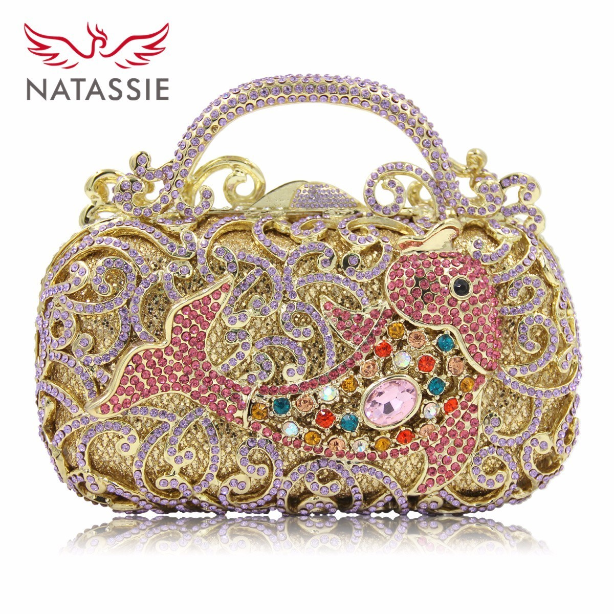 NATASSIE New Design Princess Crystal Purse Long Chain  Ladies Date Clutch Women Evening Bag Birthday Gift Good Quality