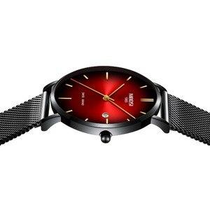 Image 2 - NIBOSI 男性トップの高級超薄型日付時計男性ブルースチールメッシュストラップビジネス · スポーツクォーツ腕時計男性時計