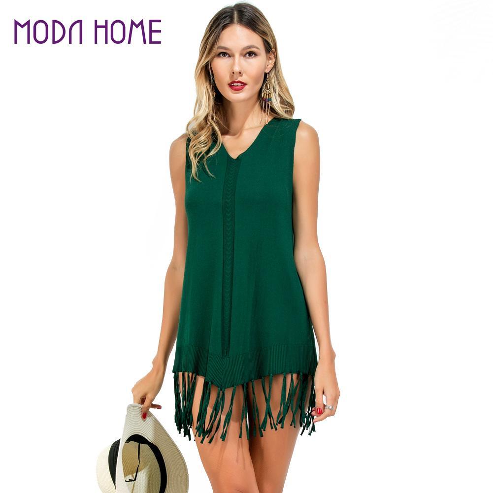 2018 Summer Women Boho Tassel Dress Short Vestidos Mujer Ladies Sexy Crochet Beach Dress Green Hot Sale Knitting Mini Sundress
