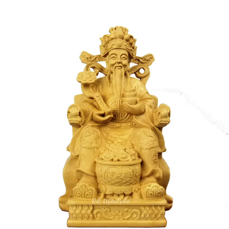 Feng shui Wood buddha statue wealth god Chinese craft wood immortal Figurines decoration carving statues for
