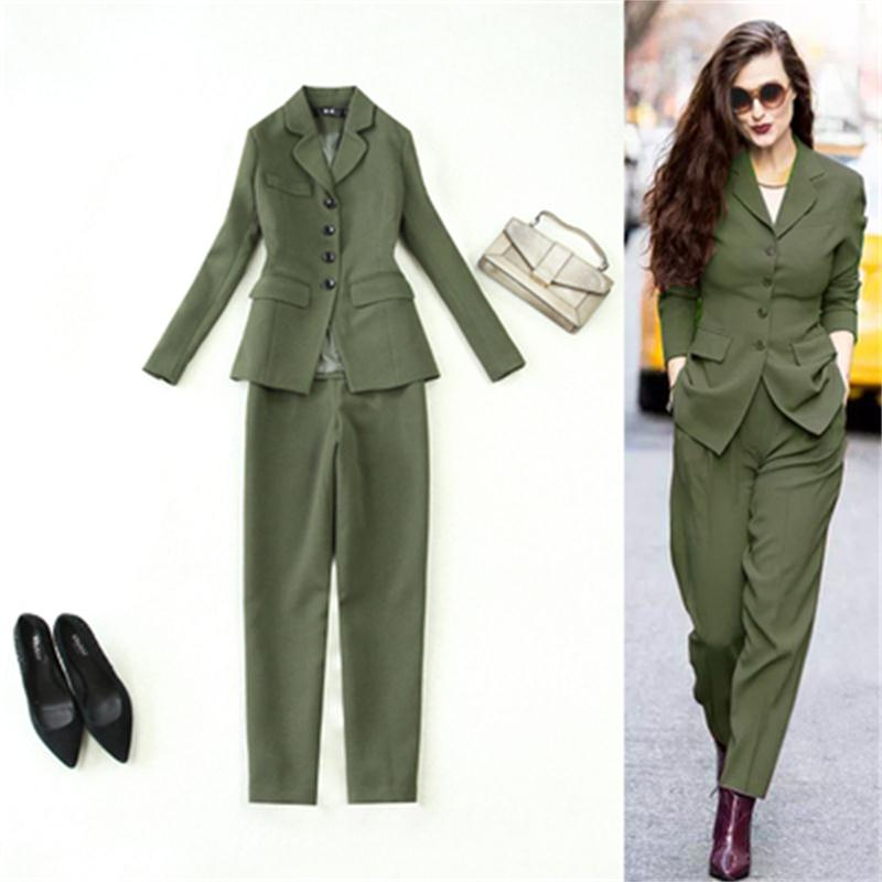 Fashion Pant Suits Female Large Size Women Fall Winter New High Quality Army Green Slim Suit + Harem Pants Two-piece Suit Women