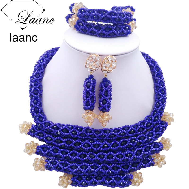 Fashion Women Costume Crystal Beaded Necklace Royal Blue African Beads Jewelry Set for Nigerian Wedding BZDJ001 classic royal blue african costume beaded jewelry set handmade 3 layers nigerian beads wedding jewellry set free shipping 10057
