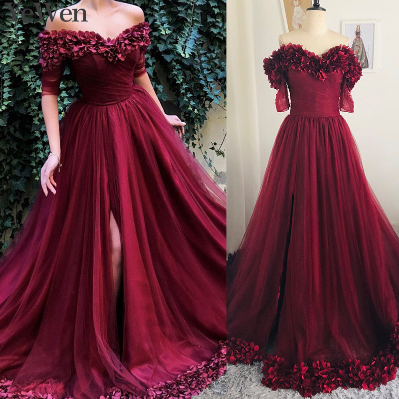 Sexy Off Shoulder Wine Red Evening Dresses 2019 Half Sleeves Simple Flowers Beach Evening Gowns Formal Prom Dress Long 6002(China)