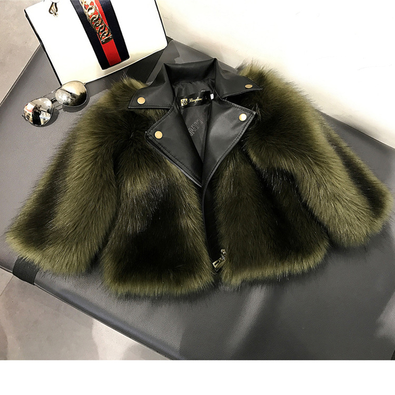 JKP imitation fox fur children fur coat parent-child wear autumn and winter 2018 new motorcycle tide fashion fur one FPC-09 new boys artificial leather clothing girls fur one coat thicken plus velvet child imitation fur coat autumn and winter fpc 39