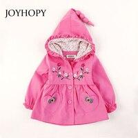 JOYHOPY New Spring Autumn Children Coats Fashion Floral Baby Girls Hooded Jackets 2 7T Long Sleeve