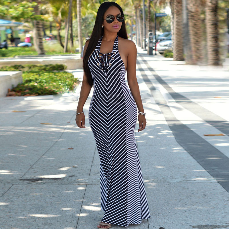 2018 summer hot sale sexy striped halter maxi dress backless sleeveless  bodycon dresses Off Shoulder 672895f26740