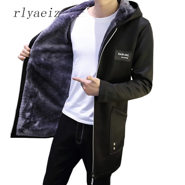 Cheap Rlyaeiz 2017 Men's Casual Parkas Solid Winter Jacket Men Middle Long Hooded Plus Velvet Thicken Warm Overcoat Man Plus Size 5XL